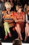 Nicki Minaj sits next to Vogue Editor, Anna, Wintour at the Carolina Herrera show during Fashion Week. Look at her facial expression; I know she can't be frowning at the clothes teh models are wearing. Wow...