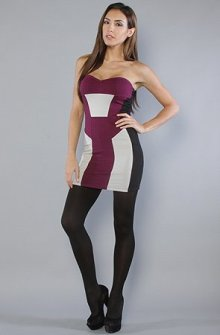 Motel The Emma Dress in Wine and Silver,Dresses for Women