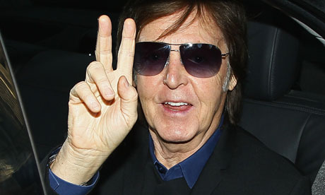Peace on earth … Paul McCartney at Paris fashion week earlier this month.