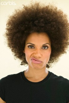 Woman with Afro Making Face
