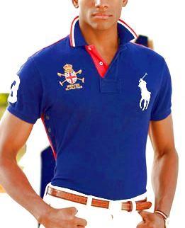 Mens Big Pony Custom-Fit Mercer Polo Shirt Dark Blue
