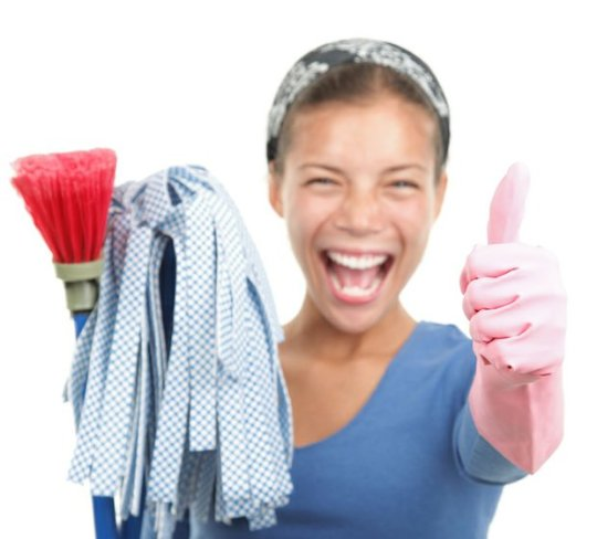 woman cleaning thumbs up