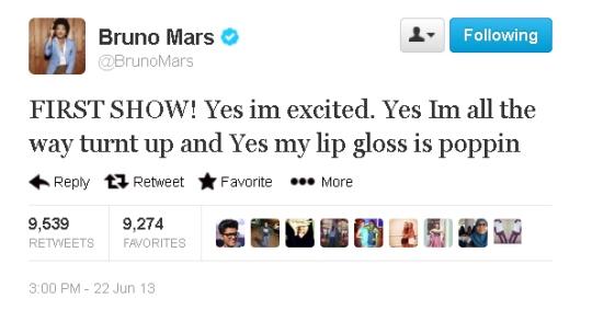 Bruno Mars Tweet Concert