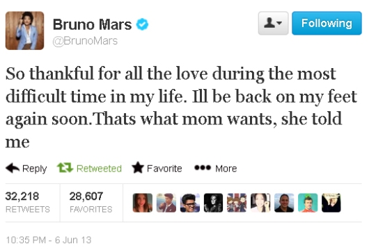 Bruno Mars Tweet Mom