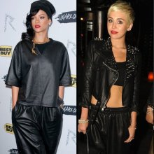 rihanna-miley-cyrus-all-black-leather-outfits-photos