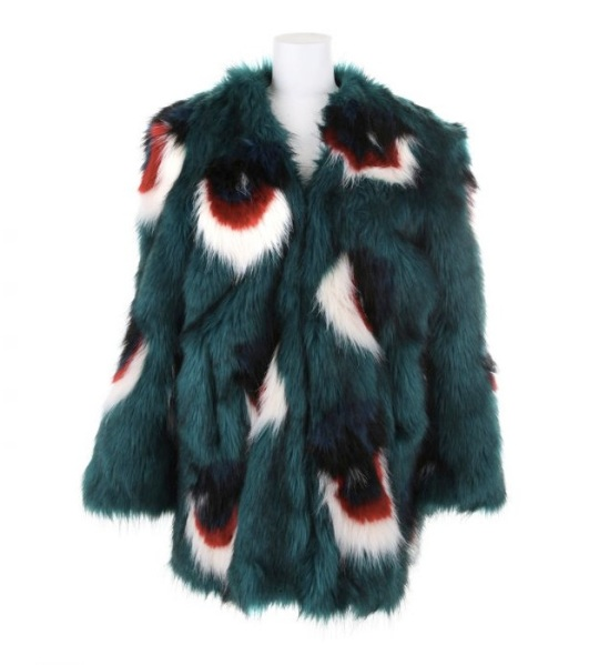 Meadham-Kirchhoff-Multicolor-Faux-Fur-Coat
